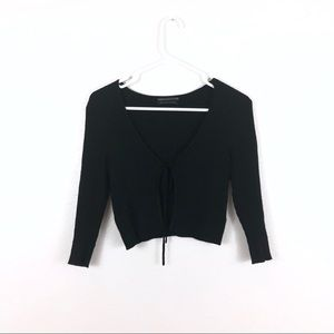 Urban Outfitters Black Ribbed Tie Cropped Cardigan